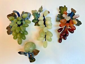 Collection 4 Vintage Genuine green JADE~Carnelian~Grapes~Fruit~Silk wrapped