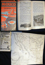 1941 MAP AUTOMOBILE ROAD TRIP MEXICO ILLUSTRATED GUIDE BOOK