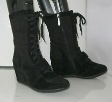 "Blacks 3.5""high  hidden  wedge heel round toe mid-calf  boot. lace up  size  9"