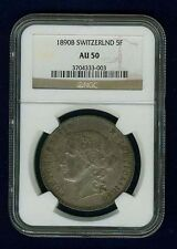 SWITZERLAND REPUBLIC 1890-B 5 FRANCS COIN ALMOST UNCIRCULATED CERTIFIED NGC AU50