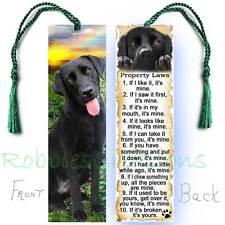 BLACK LABRADOR RETRIEVER Large BOOKMARK LAB Dog RULES Property Law  Art CARD Mix