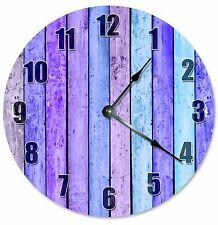 "PURPLE LAVENDAR WOOD Boards Clock - Large 10.5"" Wall Clock - 2181"