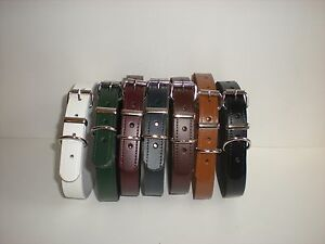 Real leather dog collars in black,brown,burgundy,navy,white, tan and green 20 mm