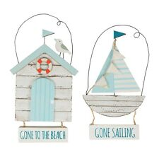 Hanging Gone to Beach/ Gone Sailing Wooden Nautical Boat/Hut Signs Sass & Belle
