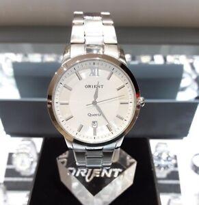 Galaxy Orient OT560MD Stainless Steel Quartz 30M WR White Silver Mens Watch