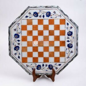 Premium Top Quality Chess Board Table Set With Wooden Stand Mosaic Inlaid Decor