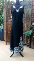 Marks & Spencer Long Linen Dress UK 12 US 8 EU 40 Black White Embroidered Floral