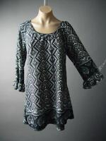 Global Tribal Tapestry Ruffle Sleeve Sweater Knit Tunic Top 126 mv Blouse XL