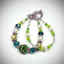 "Handmade Bracelet Charm 6.5 "" Emerald Green Double Stacked Crystal Ball New"