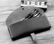 women Cosmetic storage bag Makeup box case pencil pen cow Leather black z1052