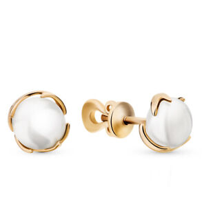 Earrings Russia gold pearl white Rose Gold 14K 585 USSR Soviet fine jewelry 2g