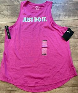 NIKE Purple JUST DO IT Logo Gym Athletic Tank Top Shirt womens MBV7855 new NWT