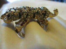 "MARK ""READY TO POUNCE"" Ring Shiny Goldtone with Bk Topaz & Clear Crystals S 7.5"