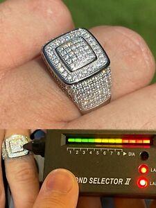 Real 925 Silver Men's Hip Hop Iced 1.8ct Moissanite Ring - Passes Diamond Tester
