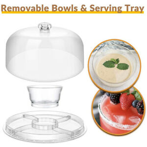 6-in-1 Acrylic Cake Stand Cake Plate with Dome Multi-Function Platter Salad Bowl