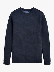 Joules Mini Waffle Crew Neck Navy Cotton Medium Men's Knitted Jumper RRP £70