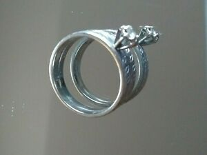 Vintage Ladies Engagement & Wedding Bands ~ 10K ~ White Gold ~ Size 6