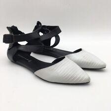 Steven By Steve Madden Elina Womens Ankle Strap Flat Shoes White Black 6 EU 36