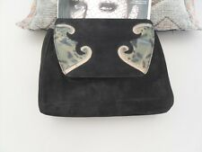 BLACK SUEDE AND  REAL SNAKESKIN CLUTCH BAG