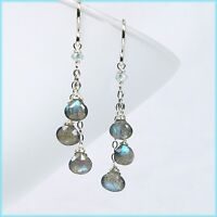 Handmade Precious Labradorite & Aquamarine Chain Dangle Drop Silver Earrings NEW