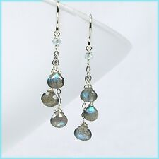 Dangle Drop Silver Earrings New Handmade Precious Labradorite & Aquamarine Chain