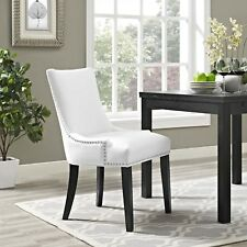 Faux Leather Upholstered Nailhead Trim Parsons Dining Side Chair in White