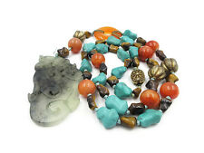 Vintage Chinese Export Jade Pendant Carnelian Turquoise Tigers Eye Bead Necklace