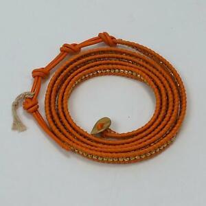Chan Luu Women's Orange Leather Gold Shining Stones Wrap Bracelet 35 inch NWOT