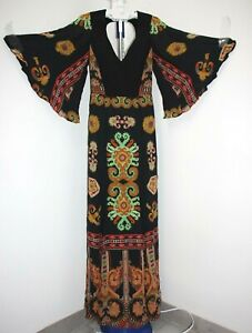 ETRO Aztec-print & Black Panes Boho Style Quilted Top Silk Maxi Dress US S/IT 40
