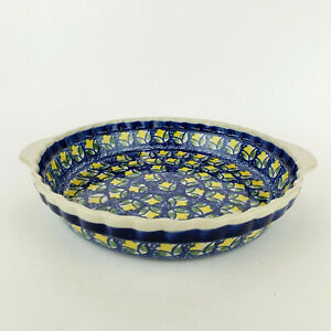 "Boleslawiec Polish Pottery Pie Dish Plate 9.5"" Yellow Water Lily Waterlily"