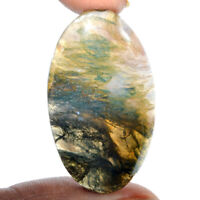 Cts. 57.30 Natural Green Tree Moss Agate Cabochon Oval Cab Loose Gemstones