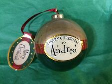 MERRY CHRISTMAS to ANDREA Paper Mache Ball Ornament STOCKING STUFFER Teacher