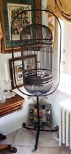 """Antique/vintage Wrought Iron Bird Cage on Stand 73"""" Tall"""