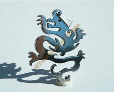 Collier Pendentif Acier Inox Grand Dragon Asie + Chaine