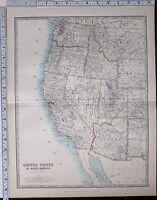 1904 LARGE MAP UNITED STATES CALIFORNIA UTAH NEVADA WASHINGTON OREGON ARIZONA