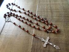 BROWN BEAD RELIGIOUS CHRISTIAN CATHOLIC ROSARY BEADS NECKLACE & CRUCIFIX CROSS