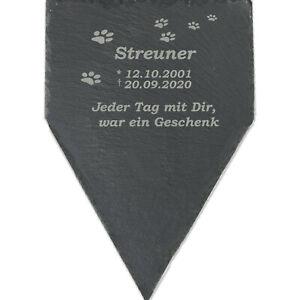 Tier-Grabstein für Hund Katze Gedenktafel personalisiert Schiefer 30x20cm F-Sp