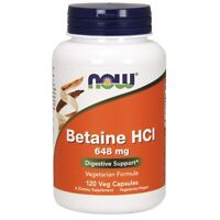 NOW Foods Betaine HCl 648 mg 120 Veg Capsules FREE SHIPPING. MADE IN USA