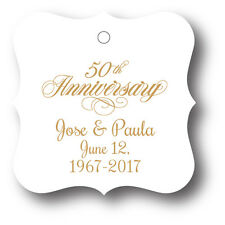50th Wedding Anniversary Party Favor Tags - 24 personalized with names and date