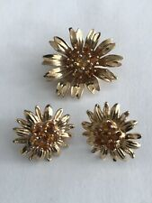 14k Yellow Gold Citrine Flower Earring & Pendant Jewelry Sets