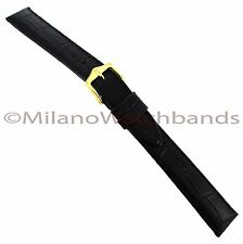 14mm Hirsch Duke Alligator Grain Genuine Leather Matte Black Watch Band Long