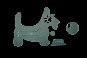 "A Scotty Dog, Bone, bowl, ball And Paw Acrylic Sewing/craft Template 4"""
