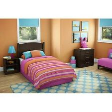 Kids Bedroom Furniture 3 Pc Set Twin Headboard Nightstand 3 Drawer Dresser Brown