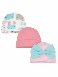 Gerber Baby Girls 3 Pack Organic Caps NEW Sizes Newborn, 0-6 Months Hats
