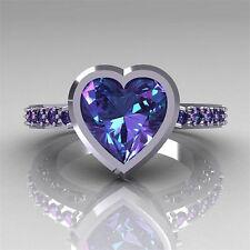 Women Man 925 Silver 2.35Ct Heart Amethyst Wedding Engagement Ring Size 6-10