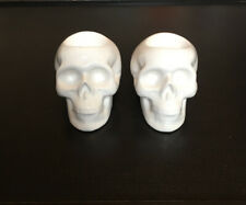 Urban Outfitters White Ceramic Skull Tea Candle Holders Set Of 2