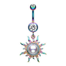 Radiant Blazing Sun Belly Navel Button Ring Clear/Rainbow 14G