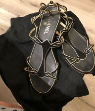 Authentic CHANEL Black and Gold Strappy Flat Suede Sandals