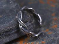 Silberring Geflochten Schmal Vintage Geschwärzt Gedreht Ring Silber 925