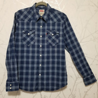 Levi's Chambray Plaid Western Shirt w/ Pearl Snaps | Men's L | Cotton